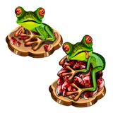 Cute green tree frog with a red tongue stole a precious stones rubies isolated on white background. Vector cartoon close. Up illustration vector illustration
