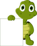 Cute green turtle cartoon holding blank sign