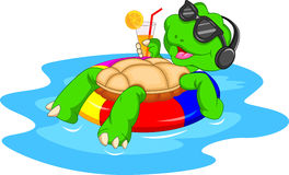 Cute green turtle cartoon Stock Image