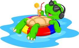 Cute green turtle cartoon Stock Image