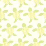 Cute green turtles seamless vector background. Strips on a shell. Yellow and green hues Royalty Free Stock Photos