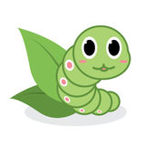 Cute green worm cartoon Royalty Free Stock Photography