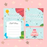 Cute greeting birthday card templates for girls royalty free illustration