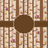 Cute greeting card. With forest and owls Stock Photo