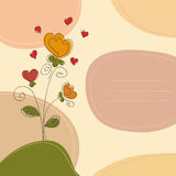 Cute greeting card. Romantic background with flowers hearts and place for text Stock Images