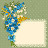 Cute greeting card. With bouquet of spring flowers and place for your text Royalty Free Stock Photography