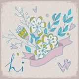 Cute greeting card with bunch of flower and ribbon. Hand drawn flower bouquet. Spring flowers. Bright illustration. Stock Photography