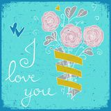 Cute greeting card with bunch of flower, ribbon and text I love you. Hand drawn flower bouquet. Spring flowers. Royalty Free Stock Image