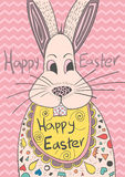 Cute greeting card with bunny for Easter stock image