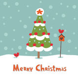 Cute greeting card with Christmas tree. Royalty Free Stock Images