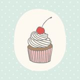 Cute greeting card with cupcake. Vector EPS 10 hand drawn illustration Royalty Free Stock Image