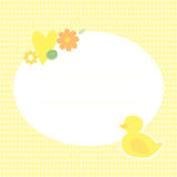 Cute greeting card with duckling,. Flowers and heart. Place for your text. In cartoon and patchwork style. Nice for baby shower and birthday. Yellow, green and Stock Photos