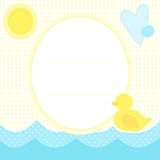Cute greeting card with duckling on a water, sun and heart. Place for your text. In cartoon and patchwork style. Nice for baby shower and birthday. Yellow, blue Stock Image