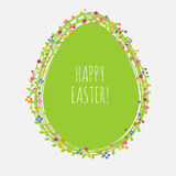 Cute greeting card for Easter. Greeting card for Easter with little flowers and big green egg Stock Image