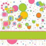 Cute Greeting Card with Flowers and Birds Royalty Free Stock Photos