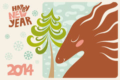 Cute greeting card. Happy new year 2014. Horse. Vector illustration Vector Illustration