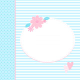Cute greeting card with hearts and flowers. Place for your text. Blue and pink colors. Nice for baby shower, child album and birthday Stock Photo