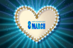 Cute greeting card for 8 march. Blue version Royalty Free Stock Image