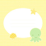Cute greeting card with octopus. Place for your text. In cartoon and patchwork style. Nice for baby shower and birthday. Yellow, green and orange colors Royalty Free Stock Photos