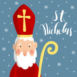Cute greeting card with Saint Nicholas with mitre, pastoral staff and falling snow. Stock Photography