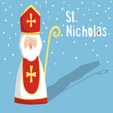Cute greeting card with Saint Nicholas, royalty free stock photography