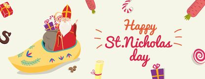 Cute greeting card for Saint Nicholas Sinterklaas day with sho. E, carrot, gift box and text block Stock Photo