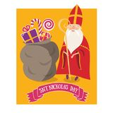 Cute greeting card with Saint Nicholas Sinterklaas with mitre. Stuff and gift bag Stock Images