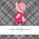 Cute greeting card with small girl. Beautiful artwork suitable for greeting card, posters, books Royalty Free Stock Image