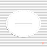 Cute greeting card with stripes and heart. Place for your text. In cartoon style. Simple and nice for baby shower and birthday. Pink and gray colors Royalty Free Stock Photo