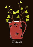 Cute greeting card,Teapot with tree, Vector illustration. Stock Photos