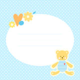 Cute greeting card with Teddy bear, flowers and heart. Place for your text. In cartoon and patchwork style. Nice for baby shower and birthday. Blue, orange and Royalty Free Stock Photo