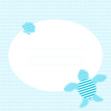 Cute greeting card with turtle and shell. Place for your text. In cartoon and patchwork style. Nice for baby shower and birthday. Blue shades Stock Images