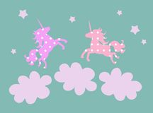 Cute greeting card with unicorns, clouds and stars. Stock Photos