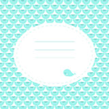Cute greeting card with whale. Place for your text. In cartoon style. Simple and nice for baby shower and birthday. Aquamarine color Royalty Free Stock Photos