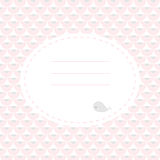 Cute greeting card with whale. Place for your text. In cartoon style. Simple and nice for baby shower and birthday. Pink and gray colors Royalty Free Stock Photo
