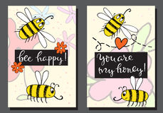 Cute greeting cards with bees and flowers. royalty free illustration