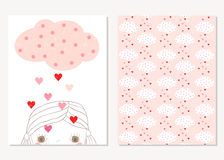 Cute greeting cards for Valentine`s day Stock Photos