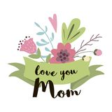 Cute Greeting Design ElementsFor Mother`s Day With Flowers ribbon vector Love you mom. Text Love you Mom on green ribbon decorated cute hand drawn flowers stock illustration