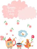 Cute greeting Happy birthday card with teapot, cup, dragon, flowers and clouds. Royalty Free Stock Photography
