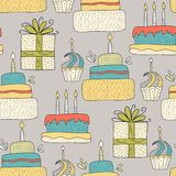 Cute greeting illustration with doodle party sweets and cakes. Happy birthday vector seamless pattern. Cute greeting illustration with doodle party sweets and royalty free illustration