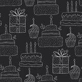 Cute greeting illustration with doodle party sweets and cakes. Happy birthday vector seamless pattern. Cute greeting illustration with doodle party sweets and vector illustration