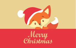 Cute greeting Merry Christmas card with red nice fox. Flat template for holiday card. Hand drawn text: `Merry Christmas` Vector illustration Stock Images