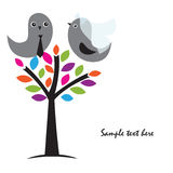 Cute greetings card with birds on a swing Royalty Free Stock Photo