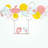 Cute greetings card with birds on a swing Stock Photos