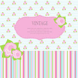 Cute greetings card with small roses Royalty Free Stock Photo