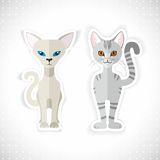Cute grey cats,  illustration Royalty Free Stock Photography