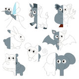 Cute Grey Color Animals, the big kid game to be colored by example half. Cute Grey Color Animals, the big collection coloring book to educate preschool kids royalty free illustration