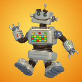Cute grey robot 3D illustration. Stock Photo