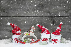 Cute grey shabby chic christmas background in red and white. Stock Photography