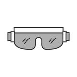 Cute grey snowboard protective glasses. Cartoon vector graphic design Stock Images